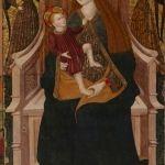 Pintura de la Virgen con el Niño que preside el retablo gótico de la iglesia (s. XV)