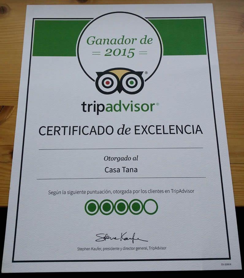 Certificado de excelencia, Casa Tana en Arties.